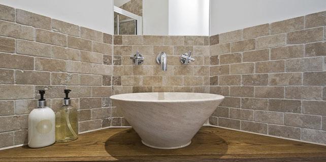 Travertine bathroom floor tiles